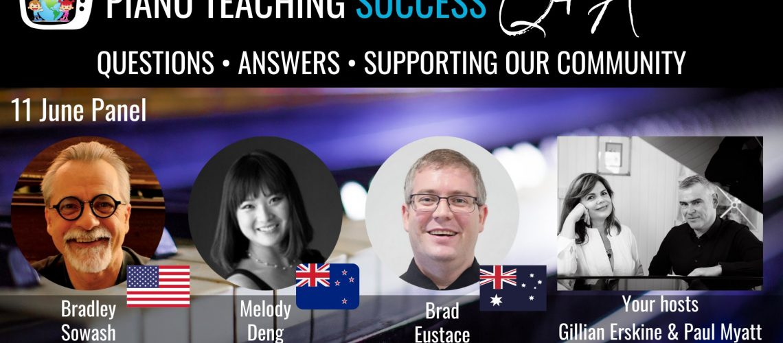 Piano Teaching Success - Bradley Sowash, Melody Deng and Bradley Eustace with Hosts Gillian Erskine & Paul Myatt